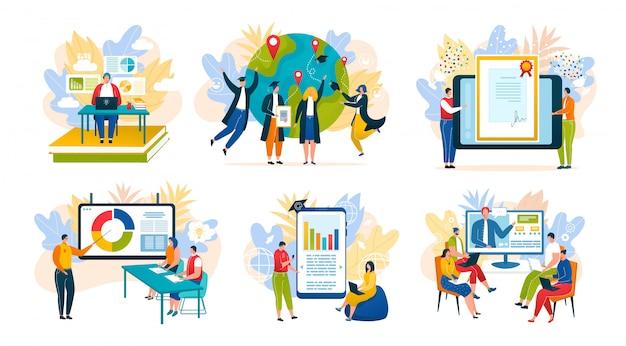Istruzione online via internet, corsi di formazione, specializzazione aziendale, università, set di illustrazioni per l'e-learning scolastico. app di formazione online e laurea, tecnologia e comunicazione.