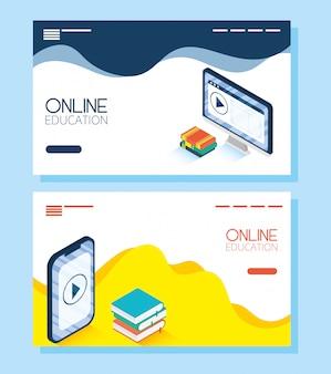 Istruzione tecnologia online con desktop e smartphone