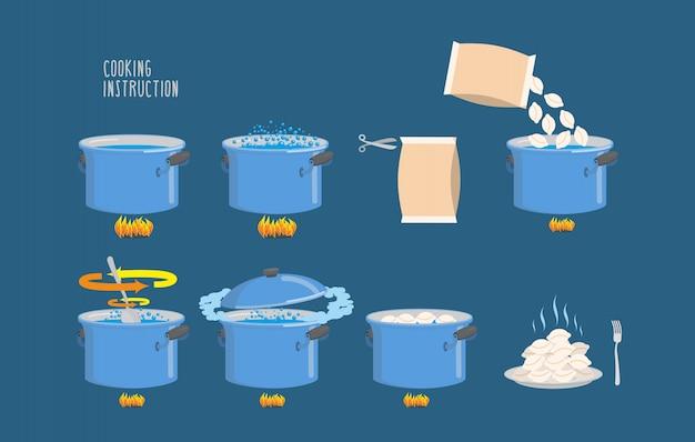Istruzioni per la cottura. infografica di gnocchi di cottura.