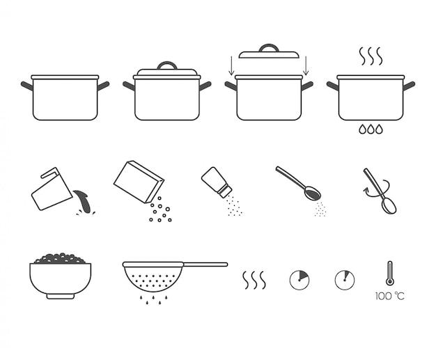 Istruzioni per la preparazione del cibo. passaggi su come cucinare il porridge.