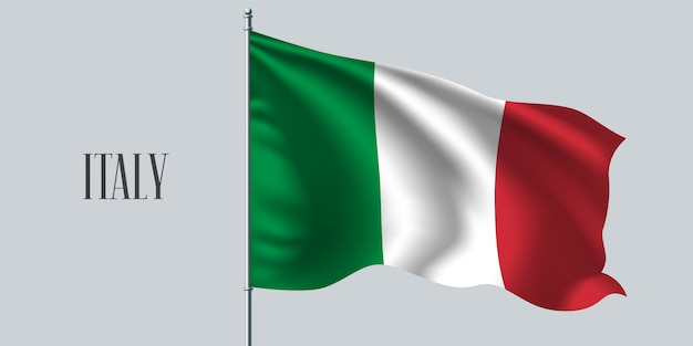 Italia sventolando bandiera sul pennone