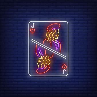 Jack di cuori carta da gioco insegna al neon.