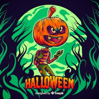 Jack-o-lantern disegnata a mano di halloween