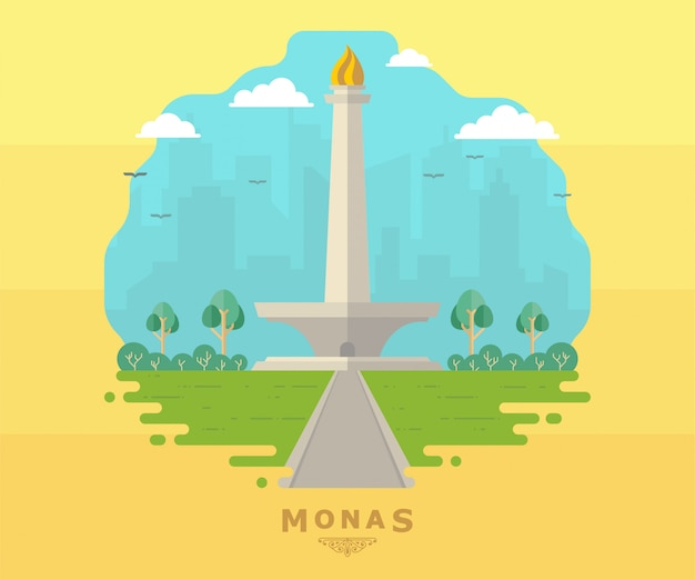 Jakarta monas flat vector