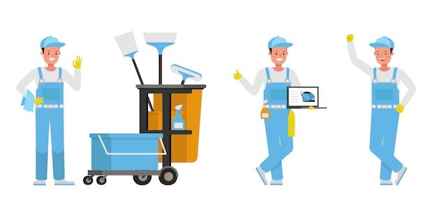 Janitor imposta il personaggio. presentazione in varie azioni.