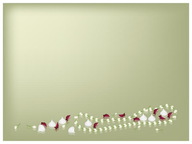 Jasmine garland e soft prepared chalk per songkran background