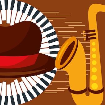 Jazz festival sassofono pianoforte cappello uomo