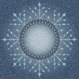 Jeans con fiocco di neve cornice cerchio vuoto