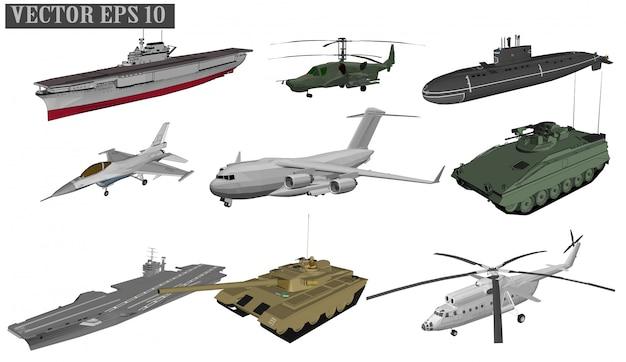 Jet aerei e navi da guerra per soldati