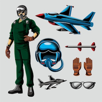 Jet fighter pilot vector pack