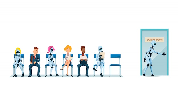 Job interview recruiting and robots. vettore.