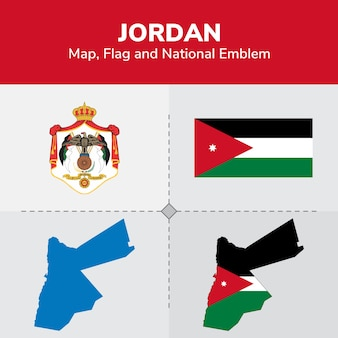 Jordan map, flag and national emblem