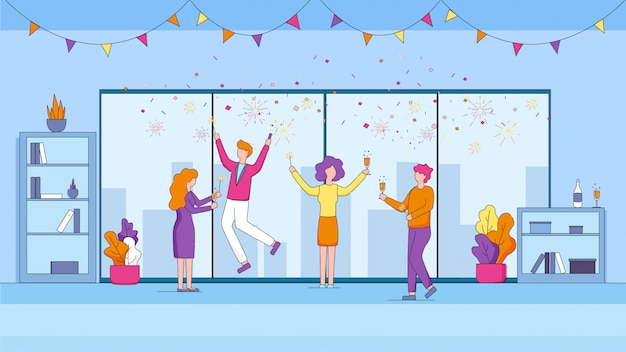 Joyful managers celebrating holiday in office.