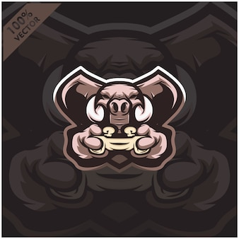 Joystick di elephant gamer con console di gioco. logo design della mascotte per il team esport.