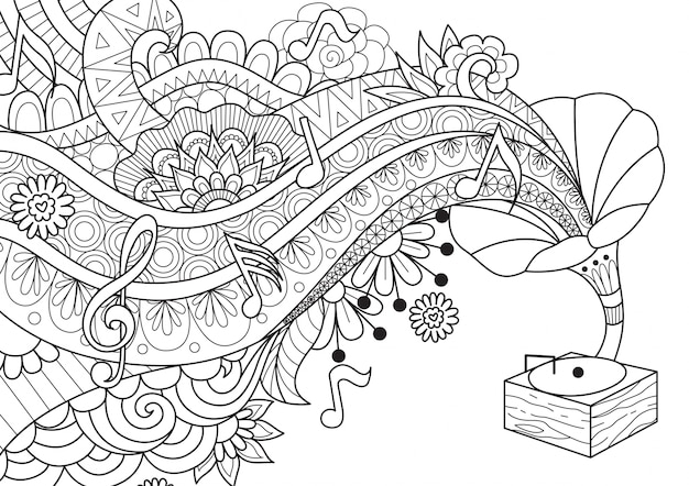 Jukebox di musica disegnata a mano