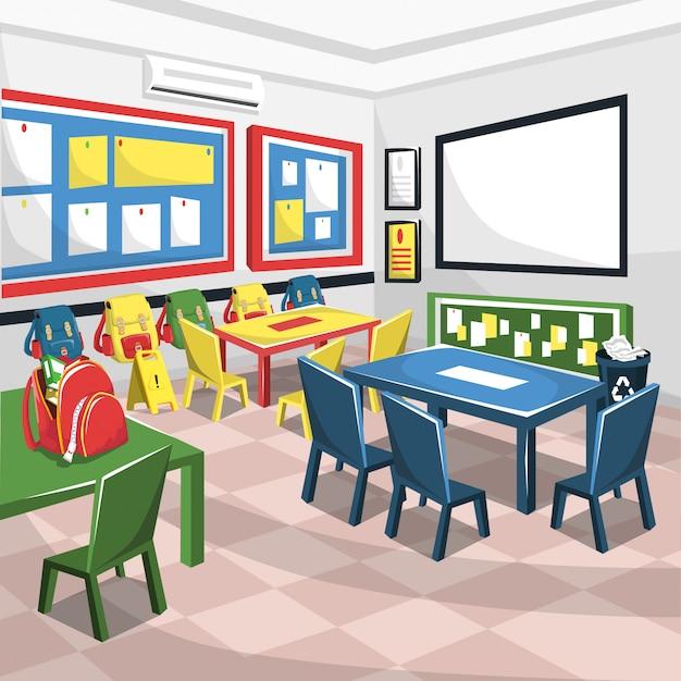 Junior school colorful classroom con lavagna bianca