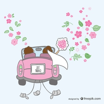 Just married cartoon illustrazione