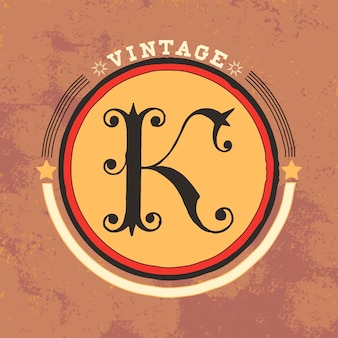 K vintage logo design vettoriale