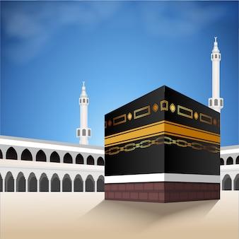 Kaaba per hajj mabroor in la mecca in arabia saudita. il pellegrinaggio fa un passo dall'inizio alla fine del monte arafat per eid adha mubarak. sfondo islamico su cielo e nuvole. rituale hajj.