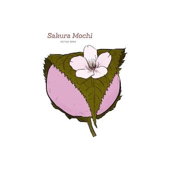 Kansai sakura mochi - schizzo disegnato a mano.