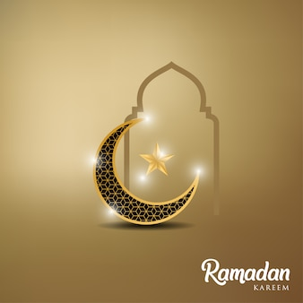 Kareem del ramadan con la cupola dorata della luna e della moschea