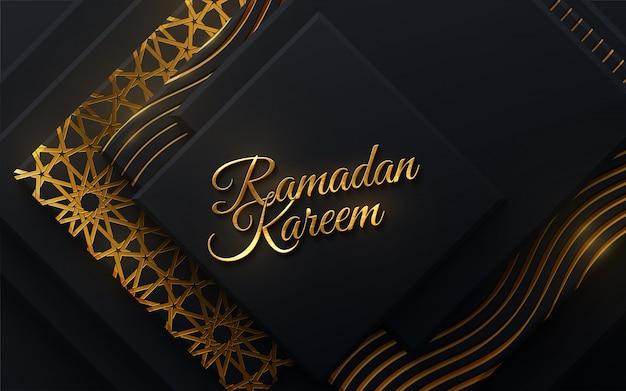 Kareem ramadan. illustrazione religiosa islam. mese santo musulmano ramadan design cartolina. striscione nero strutturato con forme geometriche e tradizionale modello girih dorato