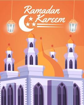 Kareem ramadan. scena con moschea o masjid