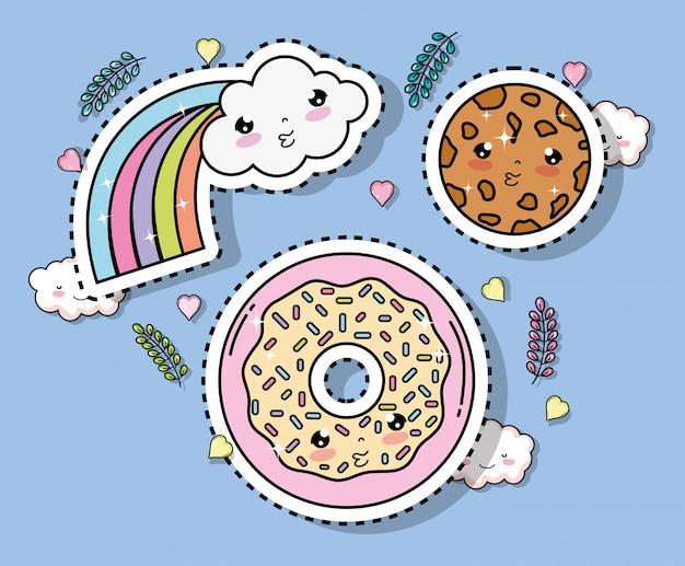Kawaii arcobaleno con adesivo nuvola e biscotto