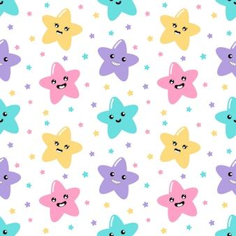 Kawaii cute stars pastello con facce buffe cartone animato modello senza cuciture su fondo bianco per bambini.
