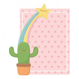 Kawaii di cactus cartoon