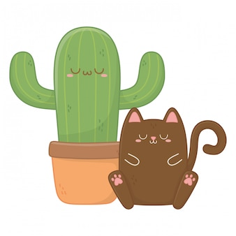 Kawaii di gatto con cactus cartoon