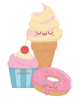Kawaii di gelato cartoon