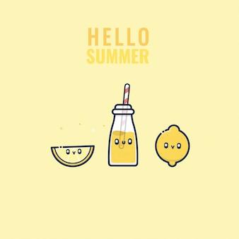 Kawaii di limone cocktail e bere carattere estivo