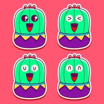 Kawaii doodle monster cactus sticker design illustrazione