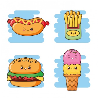 Kawaii fast food carino fast food gelato, hamburger, hot dog, patatine fritte illustrazione