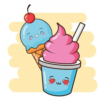 Kawaii fast food carino gelati illustrazione