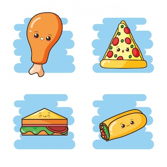 Kawaii fast food carino sandwich, burrito, pizza, illustrazione di pollo fritto