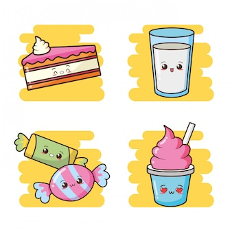 Kawaii fast food carino torta, caramelle, gelato, illustrazione di latte