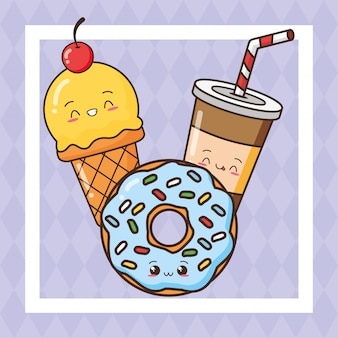 Kawaii fast food cibo carino, gelato, bevande, illustrazione di ciambella