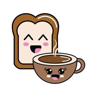 Kawaii felice dimezzato pane e tazza di caffè