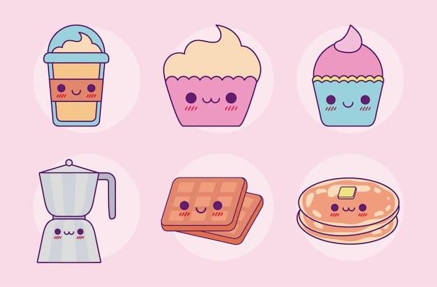 Kawaii food set design di cartoni animati