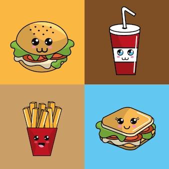Kawaii impostare l'espressione adorabile di icona di fast food