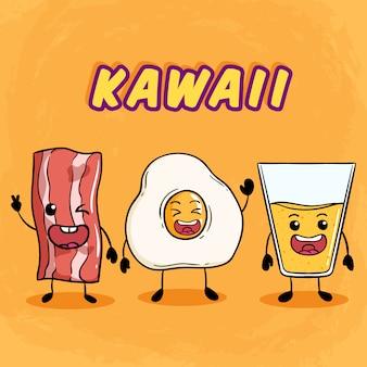 Kawaii o colazione carina con pancetta uova fritte e succo d'arancia su arancia