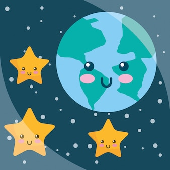 Kawaii pianeta terra stelle cartoon notte cielo