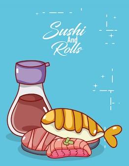 Kawaii sake pesce carne cibo giapponese cartoon, sushi e panini