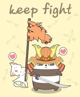 Kawaii samurai panda e gatto tiene in mano una bandiera