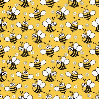 Kawaii seamless pattern cute baby bee cartoon