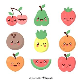 Kawaii sorridente pacchetto di alimenti sani