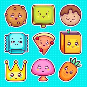 Kawaii sticker icone disegnate a mano doodle da colorare