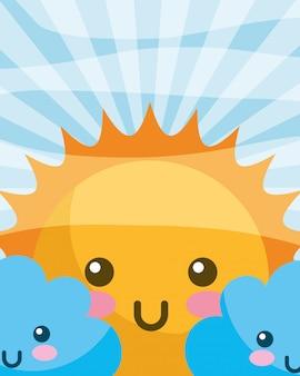 Kawaii sun clouds cartoon felice